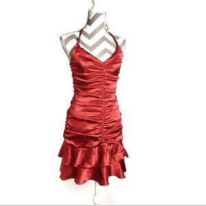 Vintage Jessica McClintock Red ruched dress | 6